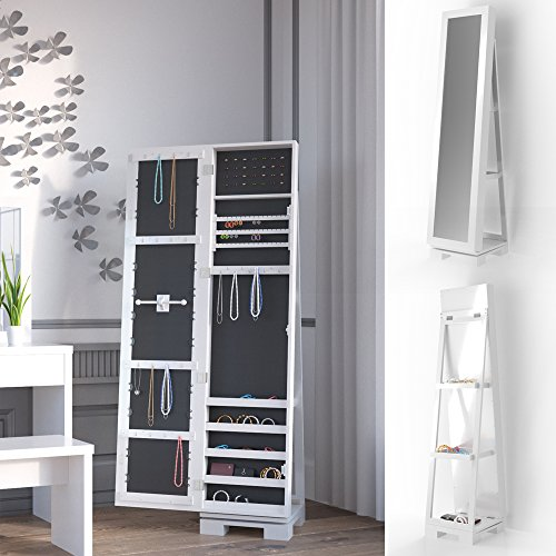 3in1 schmuckschrank spiegelschrank 360 drehbar mit leiterregal standspiegel schmuckkasten lucie. Black Bedroom Furniture Sets. Home Design Ideas