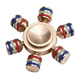 Hexagonal Gyro,6 Fidget Spinner 3 to 8 Minutes EDC Focus Toy Ultra Durable High Speed Spins Precision Copper Material, Best Stress Reducer Relieves ADHD Anxiety Detachable Loyalfire