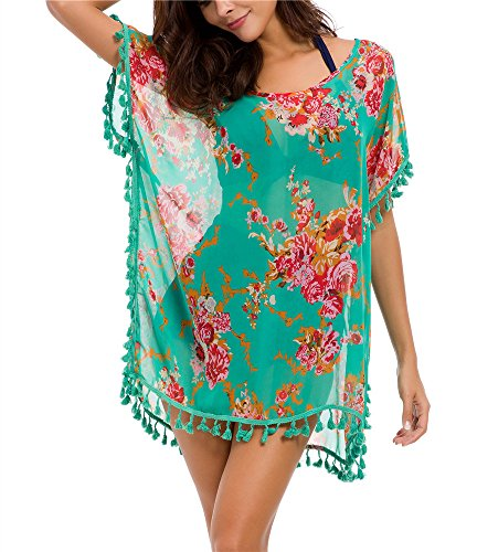 Taydey Women's Stylish Chiffon Tassel Beachwear Bikini Swimsuit Cover up (Green Flower, One Size)