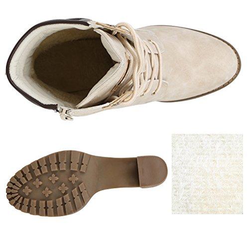 Stiefelparadies Gefütterte Damen Stiefeletten Profil Schuhe Schnürstiefeletten Flandell Nude Autol