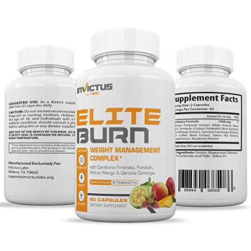 Elite Burn Weight Loss Pills That Work, Appetite Suppressant & Carb Blocker with Caralluma, Garcinia Cambogia, Green Coffee Bean Extract, Green Tea Extract 60 caplets