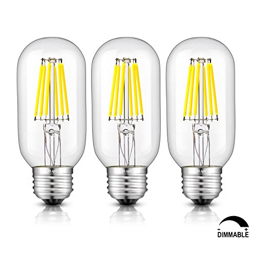CRLight 6W Dimmable Edison Style Antique LED Filament Tubular Light Bulb, 5000K Daylight White 650LM, E26 Medium Base Lamp, T14(T45) Tubular Shape, 65W Incandescent Equivalent, Pack of 3