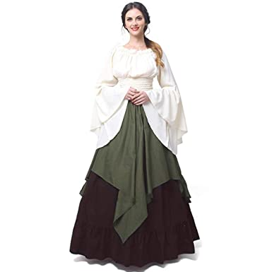 e8207e883a7 Women s Retro Renaissance Medieval Dress Trumpet Sleeve Round Neck Peasant  Long Dress Army Green Medium