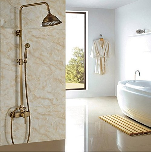 GOWE Luxury Antique Brass Wall Mount Rainfall Shower Faucet Set Single Handle Bathroom Shower System with Handshower