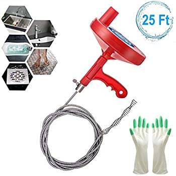 Plumbing Snake Drain Snake 25 Ft, Professional Sink Snake Drain Auger for Removing Sink Clog, Heavy Duty Pipe Clog Cleaner to Snake Drain for Bathtub Drain, Kitchen Sink, Sewer, Comes with Gloves