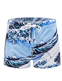 Forthery Mens Swimwear Printed Bikini Briefs Swimming Trunks Pad Swimsuits Surf Boxer Racer Shorts