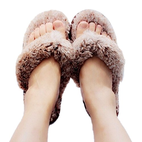 MiYang Woman's New Plush Satin Spa Thong Slipper (Brown Thong Slippers)