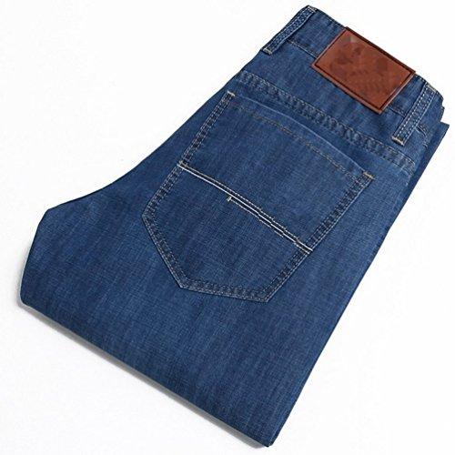 Ghope Jeans de designer pour homme, Bleu couleur délavée elastique type Casual Straignt Leg Jeans