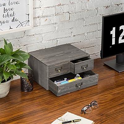 MyGift Vintage Gray Wooden 3-Drawer Desktop Organizer