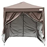 KING BIRD 8 x 8 ft Easy Pop up Canopy Waterproof Party Tent with 4 Removable Walls Mesh Windows & Carry Bag -Coffee