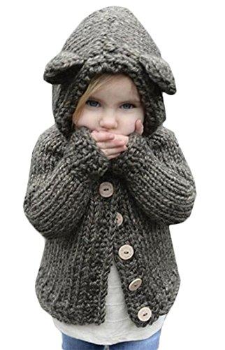 - Kids Baby Girls Winter Warm Wool Knit Sweater Cartoon Hooded Coats Jackets size 5T/130 (Light Green)