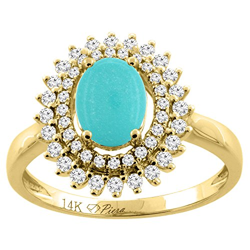 14K Yellow Gold Natural Turquoise Ring Oval 8x6 mm Double Halo Diamond Accents, size 10 14k Yellow Gold Turquoise Ring