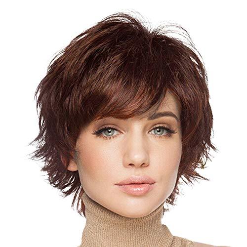 BLONDE UNICORN Short Hair Wigs for Women with Bangs Natural Human Hair Wig (Auburn)