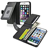 INSTEN Wallet Leather Case with ID/Credit Card Slots and Flip Cover for Apple iPhone 6 - Retail Packaging - Black