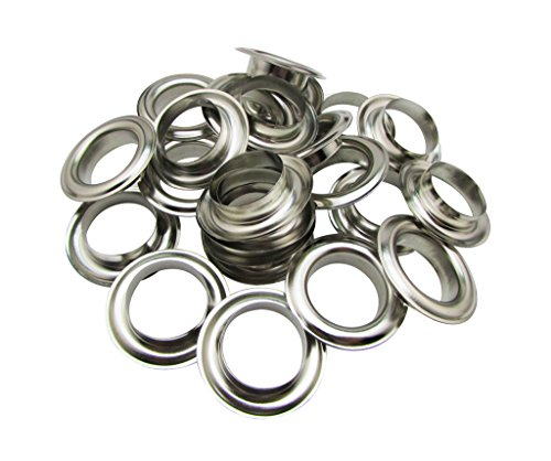 (Amanaote 30mm Internal Hole Diameter Silvery Eyelets Grommets with Washer Self Backing Pack of 15 Sets)
