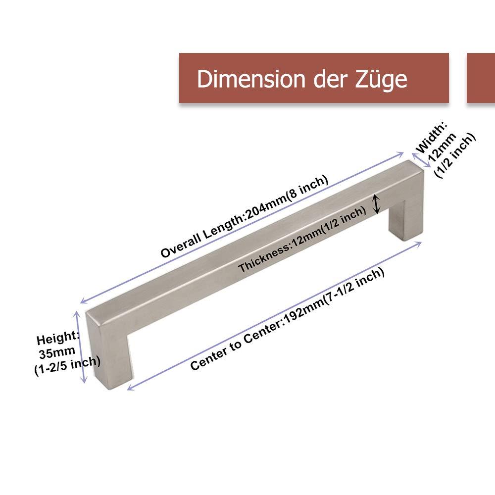 cocina para armario caj/ón ancho del tubo 12/mm x 12/mm Tirador Goldenwarm/® de acero inoxidable cepillado