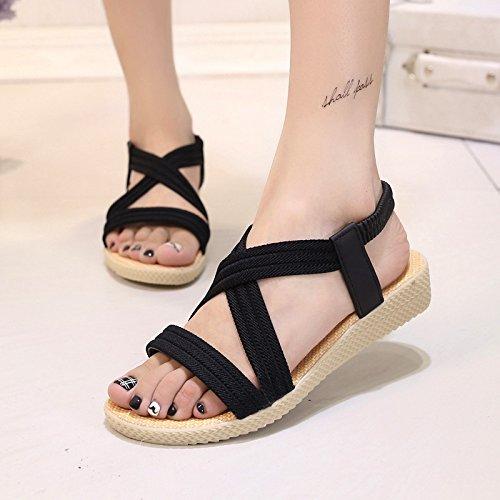 di nero Roma semplice 40 sandals elastico solido yalanshop raccordo fondo pesce piatto Roman sandali estate colore di di fBwSxZaq6g