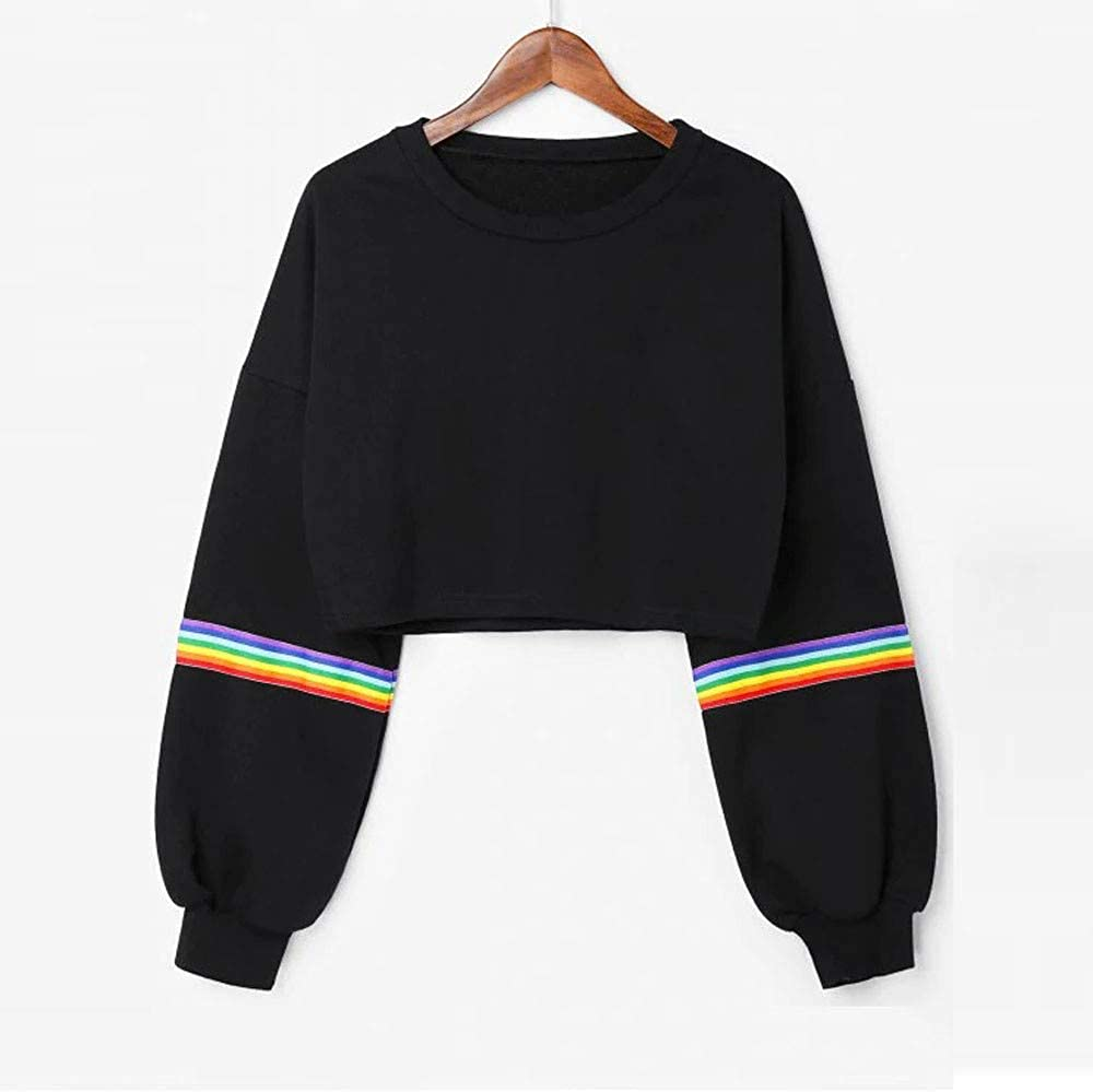 Long Sleeve Striped Crop Tops Round Neck Sweater Casual Loose Pullover Top Blouse Black F/_topbu Sweatshirt for Women