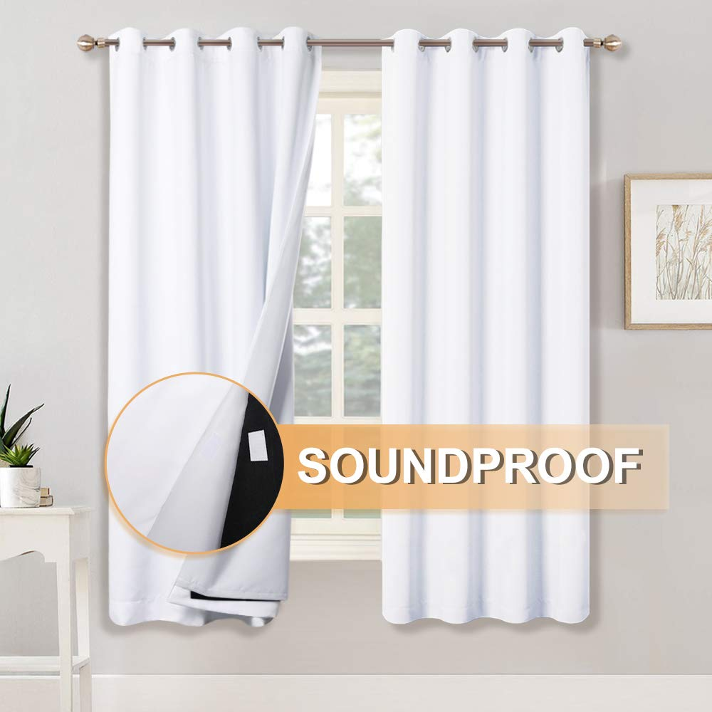 RYB HOME Full Blackout Curtains with Felt Fabtic Liner for Sound Insutation, 3 Layers for 100% Light Block, Multi- Purpose for Bedroom/Home Theater/Baby Nursery, 52 x 63 inch, White, Set of 2