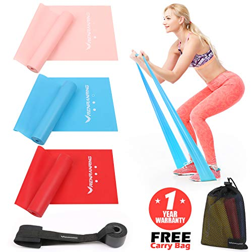RENRANRING Resistance Band Set,Latex Elastic Exericse Bands with Door Anchor for Upper and Lower Body and Core Exercise, Physical Therapy, Lower Pilates, at-Home Workouts, and Rehab