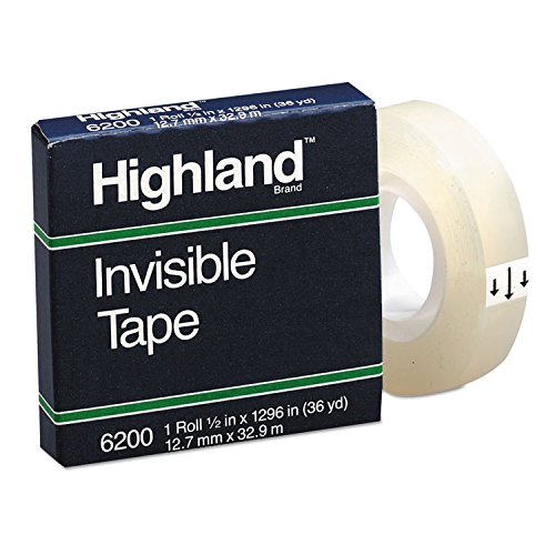 Highland 6200121296 Invisible Permanent Mending Tape, 1/2