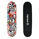 WIN.MAX 7 Plies Maple 3D Double Kick Concave Deck Cool High Doodle Quality Skating Skateboard (Red and White)