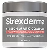 Strexderma Best 72% Organic Pregnancy Stretch Marks Removal Cream for New or Old Marks and Scars, Cocoa and Shea Butter Plus Jojoba Oil Plus Vitamin B5 for Men and Women, 4.5 fl.oz.