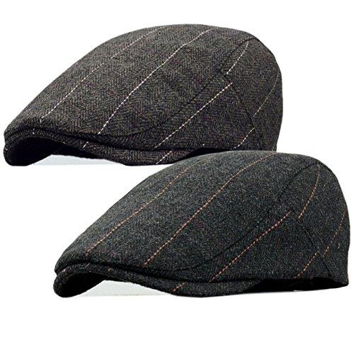 2 Pack Men's Warm Wool Tweed Blend Newsboy Flat Cap Ivy Cabbie Driving Winter Hat (Stripes Coffee/Black)