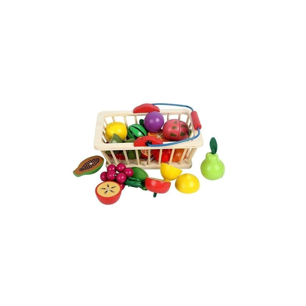 Zenghh Wooden Children's Toys, Kitchen Pretend to Play Cutting Fruit Set, Food Toy Basket Kitchen Accessories Baby Toys 3 Years Old Boy and Girl Preferred Gift ( Size : Square Fruit Basket ) by Zenghh