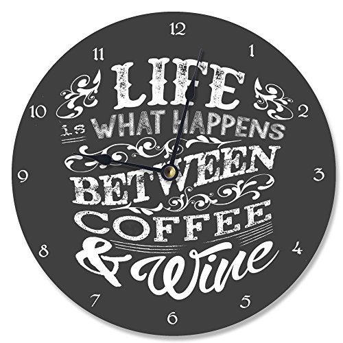Stupell Home Décor Life, Between Coffee and Wine Chalk Vanity Clock, 12 x 0.4 x 12, Proudly Made in USA (Wine Clock)