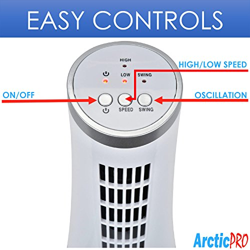 Arctic-Pro Mini OSCILLATING Tower and Compact Size, 2-Speed, Operation, Carrying 75 of for 12 inches,