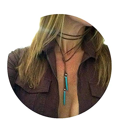 Pear Turquoise Necklace - Yihoo Bohemian Long Choker with Turquoise Pendant Sexy Rock Handmade Vintage Necklace Women Accessories 2 PCS(1 Balck+1 Brown)