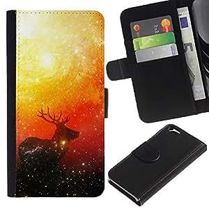"""A-type (Espacio ciervos"""") Colorida Impresión Funda Cuero Monedero Caja Bolsa Cubierta Caja Piel Card Slots Para Apple (4.7 inches!!!) iPhone 6 / 6S"""