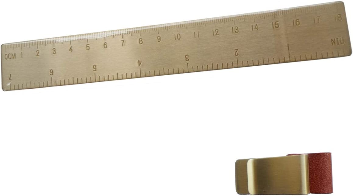 Regla de metal pequeña de 6 pulgadas de latón para diario de bala con un soporte para lapiceros: Amazon.es: Oficina y papelería