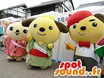 3 mascota SpotSounds de peluche, dibujos animados japoneses