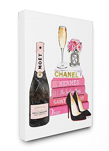 The Stupell Home Decor Collection Stupell Industries Glam Pink Fashion Book Champagne Hells and Flowers Stretched Canvas Wall Art, Proudly Made in USA - Fashion Art