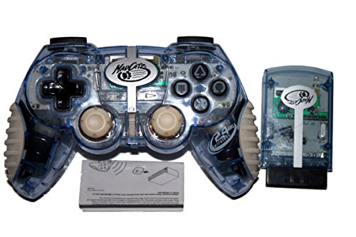 PS2 Mad Catz Wireless MicroCon Clear Blue Controller -