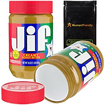 Jiffy Peanut Butter Diversion Safe Stash Can w HumanFriendly Smell-Proof Bag
