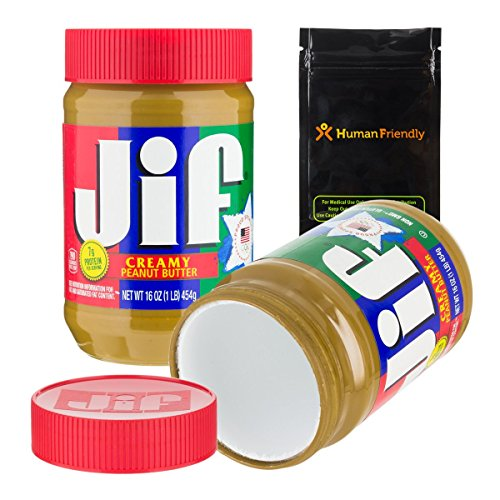Jif Peanut Butter Diversion Safe Stash Can w HumanFriendly Smell-Proof Bag