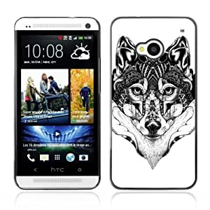 Designer Depo Hard Protection Case for HTC One M7 / Beautiful Pattern Wolf Art