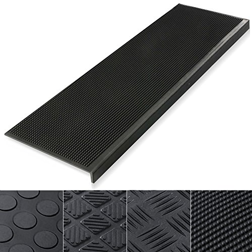 (Indoor & Outdoor Bullnose Rubber Non-Slip Stair Treads, 30