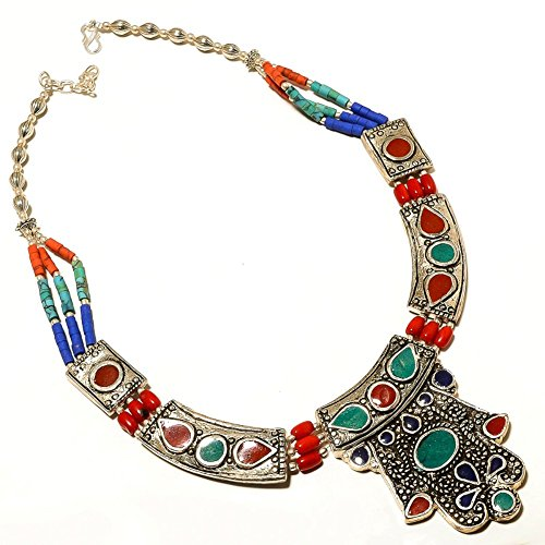 Nepali Work Jewelry! Green Malachite, Lapis, Red Coral Sterling Silver Overlay 91 grams Necklace (Coral Malachite Necklace)