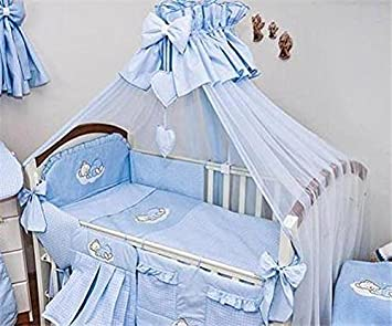 10 Piece Duvet, Cot Bumper Set/Nursery Bedding Sets with Canopy (to fit Cot Bed 140x70cm,Sleepy Bear - Check Cream) Babycomfort