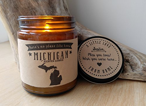 Michigan Scented Candle Missing Home Homesick Gift Moving Gift New Home Gift No Place Like Home State Candle Thinking of You Valentines Day Gift