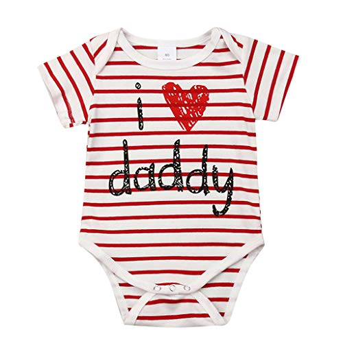 Clearance Sale 0-24 Months Newborn Infant Baby Kids Girl Boy Letter Print Romper Jumpsuit Sunsuit Outfits Clothes (Red-Daddy, 12-18 Months)