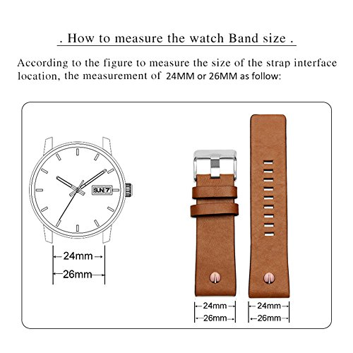 MSTRE NP67 24mm/26mm Calfskin Leather Watch Band Suitable for Men's Diesel Watches (24mm, Brown) by MSTRE (Image #5)
