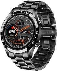 Relógio inteligente masculino de luxo 2021, pulseira de aço, relógio fitness com frequência cardíaca, pressão