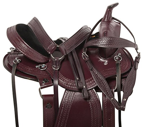 "15"" 16"" ROUND SKIRT WESTERN LEATHER TOOLED PLEASURE TRAIL ENDURANCE COMFY HORSE SADDLE TACK BRIDLE REINS BREAST COLLAR (16) (Round Pleasure Skirt Saddle)"