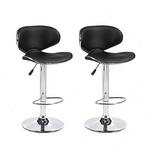 Mecor Adjustable Swivel Leather Bar Stools Hydraulic Counter Height Kitchen Dining Chairs,Set of 2, Black