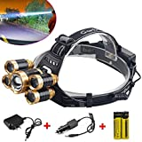 80,000Lumens 5x XM-L T6 LED Rechargeable 18650 Headlamp Head Light Torch Lamp USA